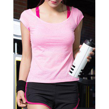 Motif Sportive col rond Dot T-Shirt Pure Couleur Women 's