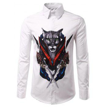 Casual Long Sleeves Men's Leopard Printed Turn Down Collar Shirts