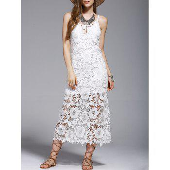 Stylish Crochet Scoop Neck See-Through Cover Up For Women