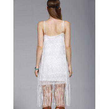 Stylish Tassel Spaghetti Straps Hollow Out Dress For Women - WHITE M