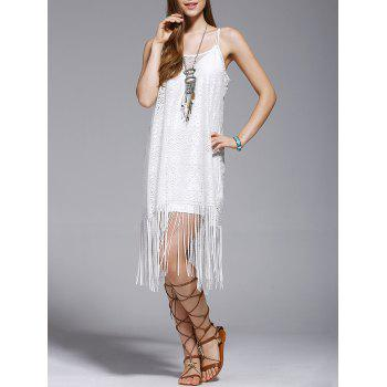 Stylish Tassel Spaghetti Straps Hollow Out Dress For Women