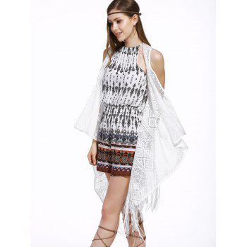 Trendy Lace Fringed Spliced Cover-Up For Women - WHITE ONE SIZE(FIT SIZE XS TO M)
