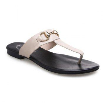 Casual Flat Heel and Metal Design Women's Slippers - APRICOT APRICOT