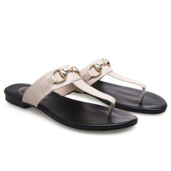 Casual Flat Heel and Metal Design Women's Slippers - APRICOT 39