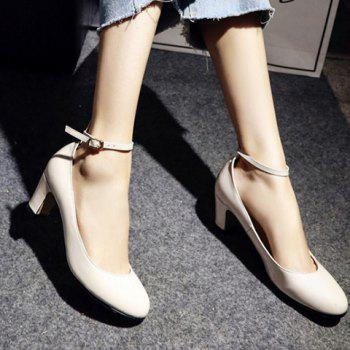 Simple Ankle Strap and Chunky Heel Design Women's Pumps - LIGHT APRICOT 37