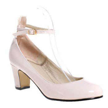 Simple Ankle Strap and Chunky Heel Design Women's Pumps