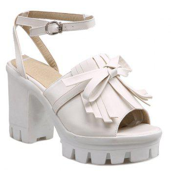 Trendy Platform and Fringe Design Women's Sandals