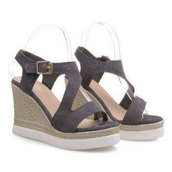 Fashionable Wedge Heel and Suede Design Women's Sandals - GRAY 36