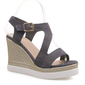 Fashionable Wedge Heel and Suede Design Women's Sandals