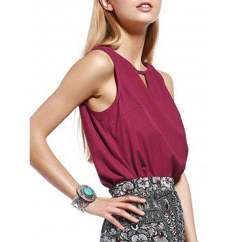 Trendy Cut Out Pure Color Tank Top For Women