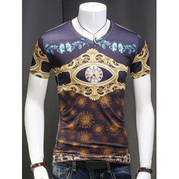 Men's V Neck AbstractPrinted Short Sleeves T-Shirt