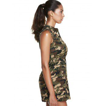 Casual Women's Stand Collar Sleeveless Camo Dress - CAMOUFLAGE L