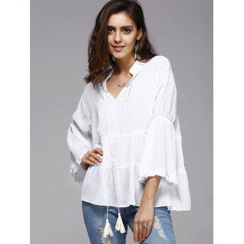 Trendy Plus Size Tassels Design Solid Color Blouse For Women - WHITE WHITE