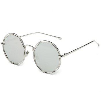 Stylish Flat Polygonal Lens Hollow Out Women's Silver Round Mirrored Sunglasses