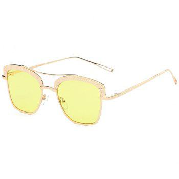 Stylish Cobblestone Shape Embellished Women's Golden Mirrored Sunglasses