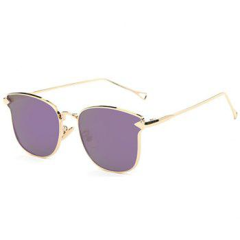 Stylish Women's Classic Flash Lens Metal Golden Cat Eye Mirrored Sunglasses
