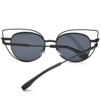 Stylish Women's Flat Lenses Cut Out Street Fashion Black Cat Eye Sunglasses - BLACK