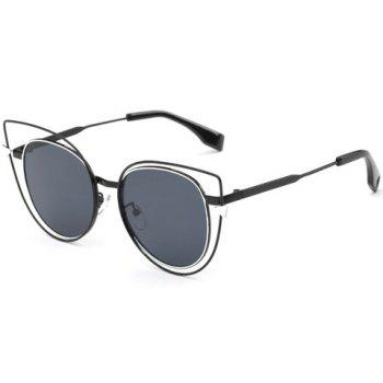 Stylish Women's Flat Lenses Cut Out Street Fashion Black Cat Eye Sunglasses