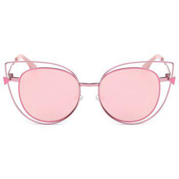 Stylish Women's Cut Out Street Fashion Sweet Pink Cat Eye Mirrored Sunglasses - PINK