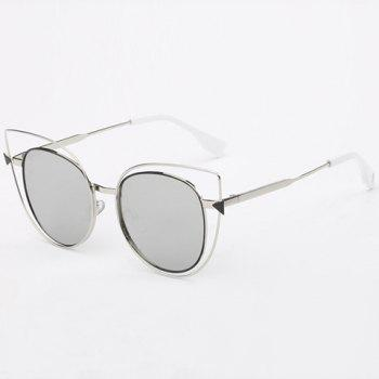 Stylish Women's Cut Out Street Fashion Two Color Match Cat Eye Mirrored Sunglasses