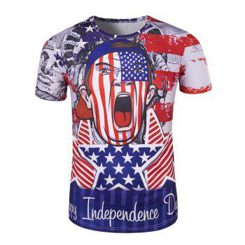 The Stars and The Stripes Cartoon Print Round Neck Short Sleeve Men's T-Shirt
