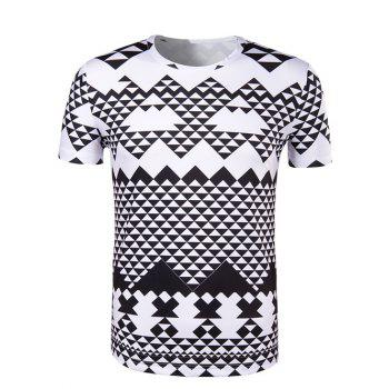 Irregular Geometric Print Round Neck Short Sleeve Men's T-Shirt