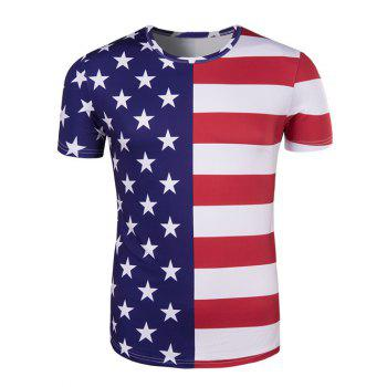 The Stars and The Stripes Print Round Neck Short Sleeve Men's T-Shirt
