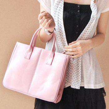 Simple Candy Color and PU Leather Design Women's Tote Bag - PINK