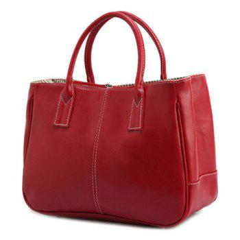Simple Candy Color and PU Leather Design Women's Tote Bag