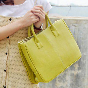 Simple Candy Color and PU Leather Design Women's Tote Bag - BLUISH YELLOW