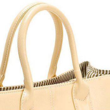 Simple Candy Color and PU Leather Design Women's Tote Bag - OFF WHITE