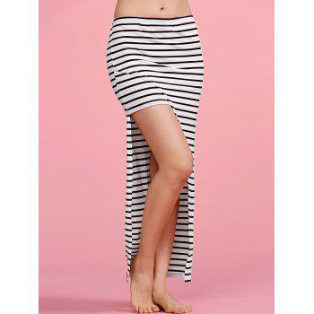 Stylish High Waisted Striped Irregular Hem Women's Skirt