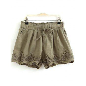 Casual Elastic Waist Drawstring Crochet Splice Women's Shorts