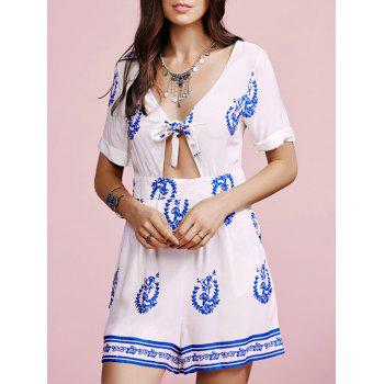Fashion V-Neck Cut Out Knotted Print Romper For Women