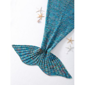 Stylish Crocheted Knitted Fish Scale Tail Shape Blankets - BLUE