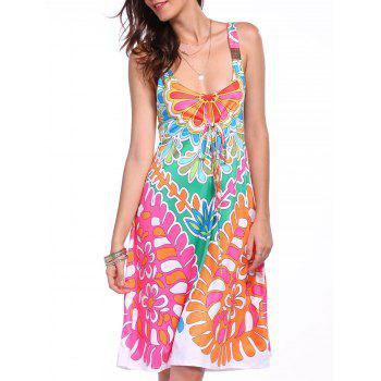 Ethnic Style Plunging Neck Sleeveless Printed Colorful Women's Dress - COLORMIX S