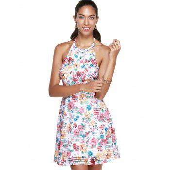 Stylish Women's Halter Floral A-Line Dress - COLORMIX M