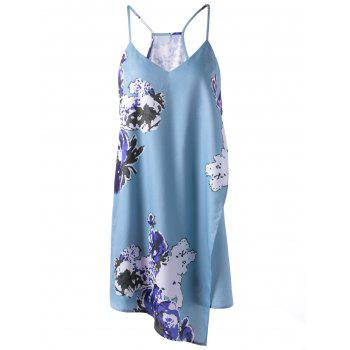 Sexy Women's Floral Print  Cascades Cami Dress - LIGHT BLUE S