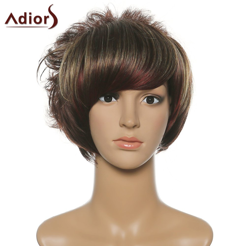 Women's Shaggy Adiors Short Side Bang Synthetic Wig - COLORMIX