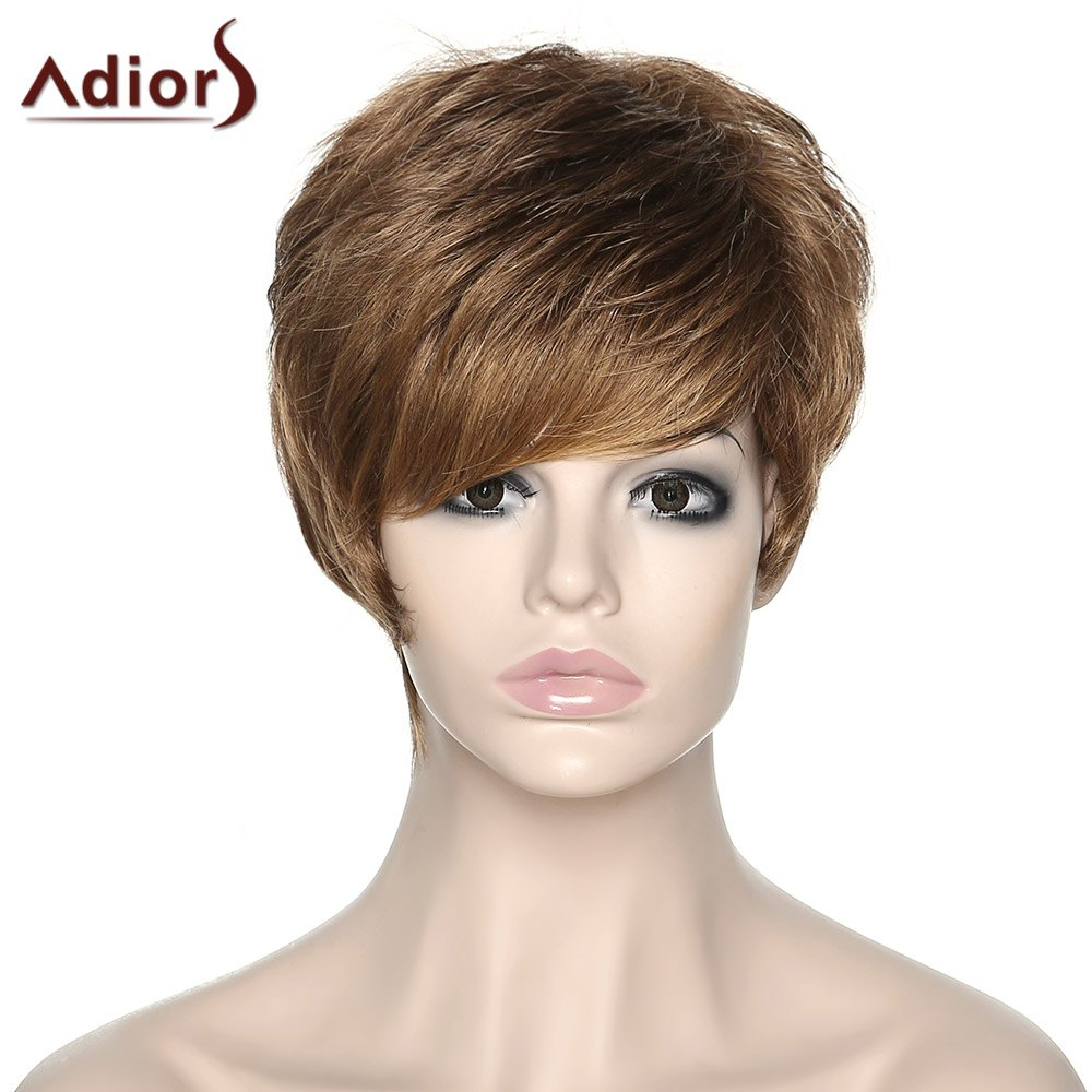 Women's Shaggy Adiors Side Bang Synthetic Boy Cut Wig