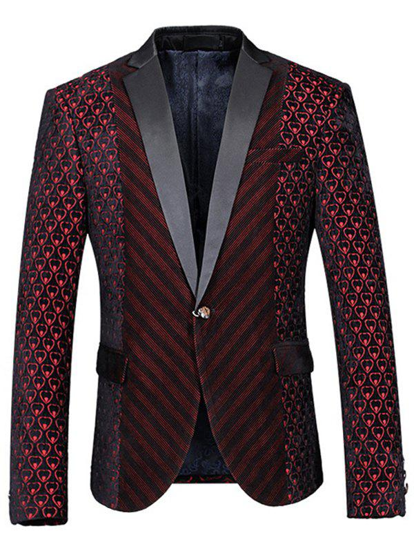 Slimming Back Slit Single Button Long Sleeves Blazer For Men - WINE RED M