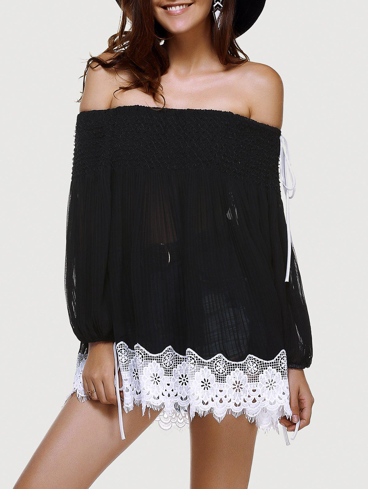 Stylish Off-The-Shoulder Fold Drawstring Lace Long Sleeves Top For Women - BLACK ONE SIZE(FIT SIZE XS TO M)