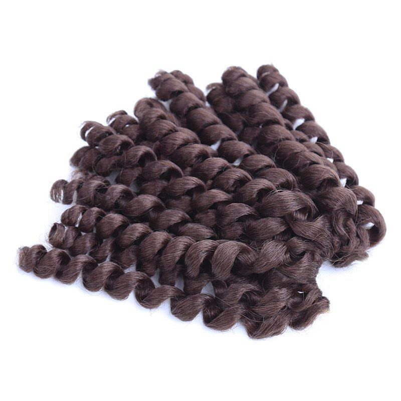 Boutique Women's Short Curly Braid Synthetic Hair Extension - DARK AUBURN BROWN