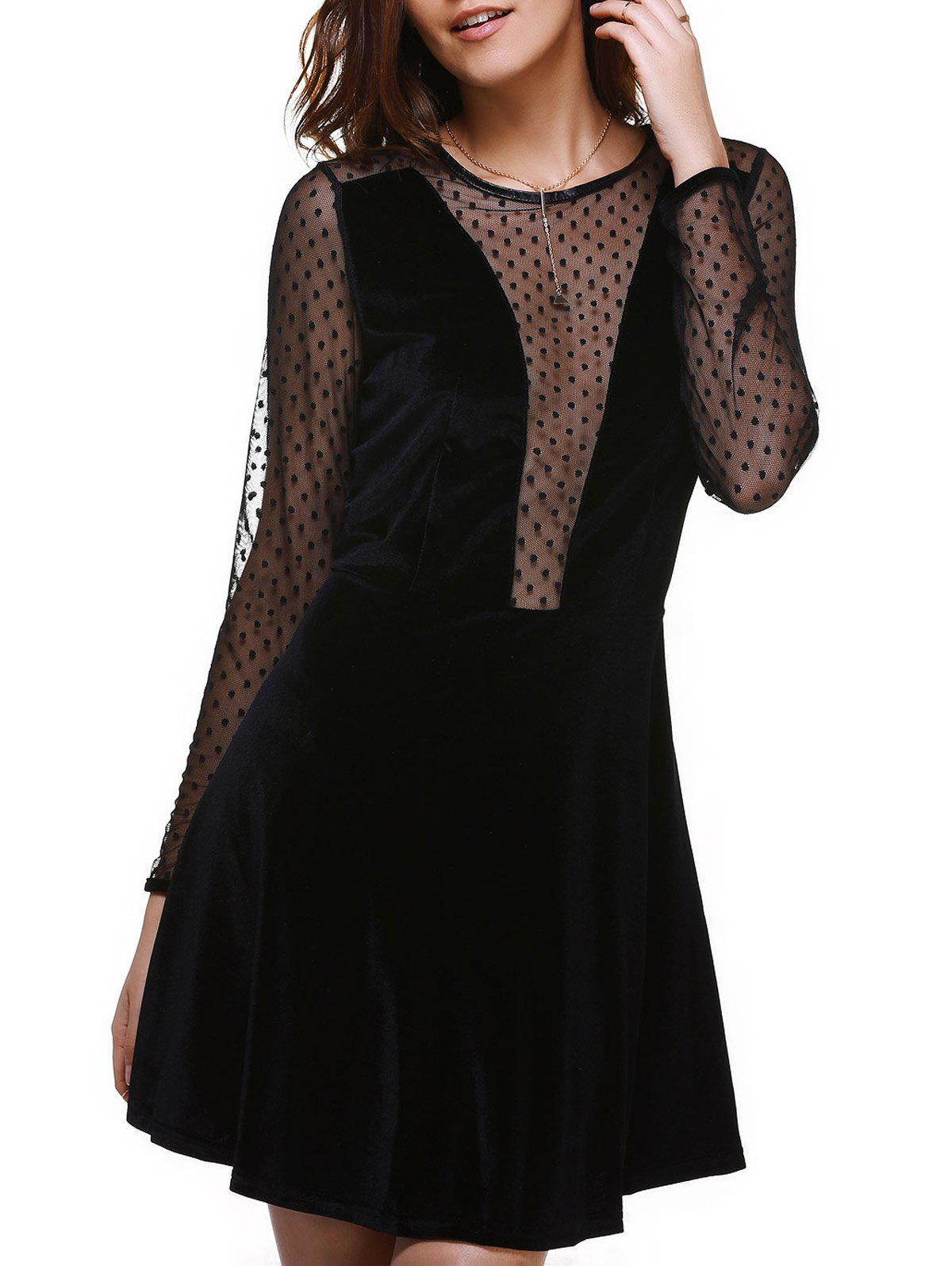 Alluring Spliced See-Through Long Sleeve Women's Dress - 2XL BLACK