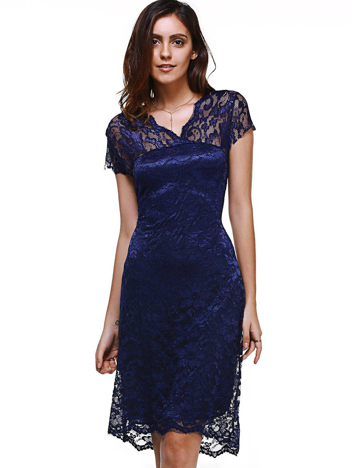 Sweet V-Neck Short Sleeve Women's Lace Dress - PURPLISH BLUE 2XL