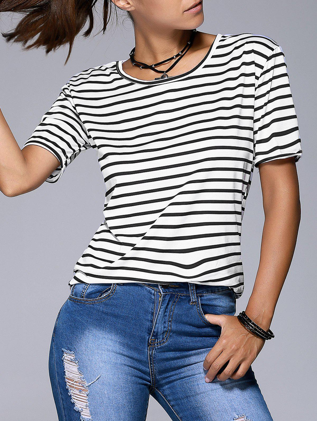 Women's Graceful Striped Short Sleeve T-Shirt - WHITE/BLACK XL