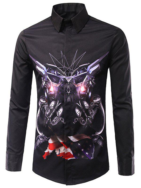 Men's Casual Long Sleeves Flag Printed Turn Down Collar Shirts - BLACK 2XL