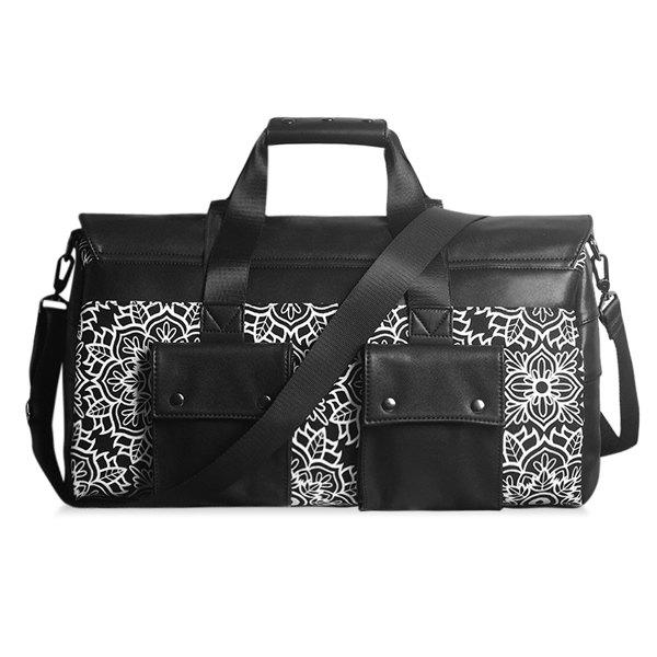 Leisure Tribal Print and Splicing Design Women's Tote Bag - BLACK