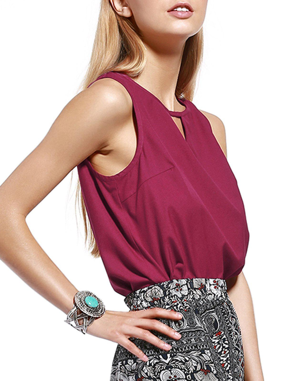 Trendy Cut Out Pure Color Tank Top For Women - WINE RED L