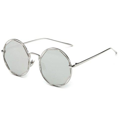 Stylish Flat Polygonal Lens Hollow Out Women's Silver Round Mirrored Sunglasses - SILVER